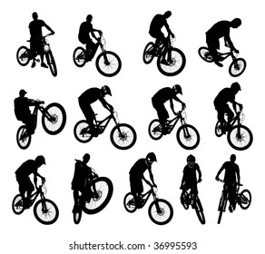 Collection of 13 extreme bicycle vector