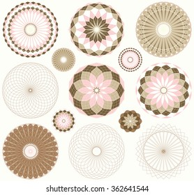 a collection of 13 graphic vintage ornament flowers, in a light pink and brown palette