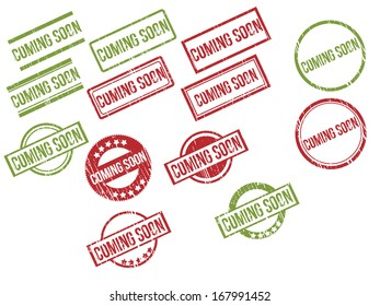 "Collection of 13 red and green grunge rubber stamps with text ""COMING SOON"" . Vector illustration"