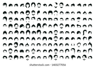 Collection of 144 hair styling icons for woman and man. vector Set