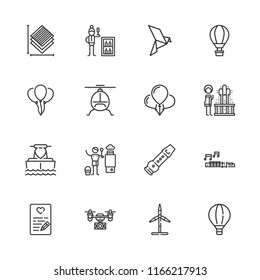 Collection of 16 air outline icons include icons such as minibar, bird, balloons, eolic energy, drone, hot air balloon, helicopter, jet boating, balloon, flute, love letter