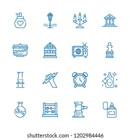 Collection of 16 antique outline icons include icons such as perfume, lighter, bird cage, candelabra, zeus, sculpture, alarm clock, abacus, vase, museum, street lamp, tv