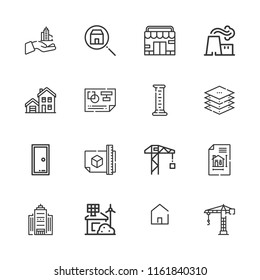 Blueprint crane images stock photos vectors shutterstock collection of 16 architecture outline icons include icons such as store eco house power malvernweather Images