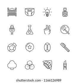 Collection of 16 art outline icons include icons such as pen, clover, peace, rugby, skydiving, diaper, baby bed, magic wand, pineapple, cutter, microphone, rgb, potion, star