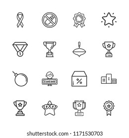 Collection of 16 best outline icons include icons such as winner, top, trophy, favorites, bomb, bombs, medal, ribbon, podium, discount