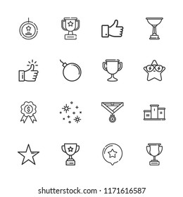 Collection of 16 best outline icons include icons such as trophy, like, bomb, star, stars, podium, medal