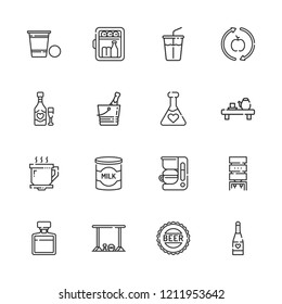 Collection of 16 beverage outline icons include icons such as minibar, champagne, soft drink, healthy food, milk, coffee cup, potion, water dispenser, bottle cap, whiskey