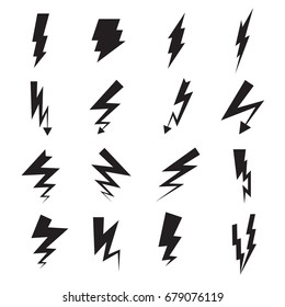 Collection of 16 black symbols of lightning isolated on a white background. Vector illustration