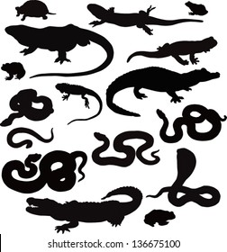 Collection from 16 black vector icons of reptiles on a white background