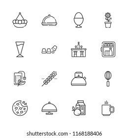 Collection of 16 breakfast outline icons include icons such as kettle, minibar, cookies, tea bag, coffee cup, whisk, serving dish, coffee, dinner, boiled egg, bar, cup, pot