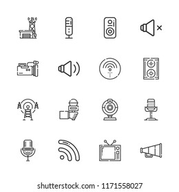 Collection of 16 broadcast outline icons include icons such as speaker, speakers, webcam, antenna, video camera, microphone, signal, wifi
