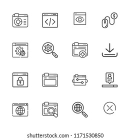 Collection of 16 browser outline icons include icons such as browser, search engine, pay per click, coding, download, browsers, browser visualization