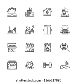 Collection of 16 building outline icons include icons such as store, dealer, alarm, skyscraper, nuclear plant, terrace, house, neighborhood, dumbbell, landmark, observatory