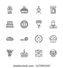 Collection of 16 cake outline icons include icons such as birthday boy, cake, party blower, healthy food, cookies, wedding car, cup cake, sweet, bouquet, groom, bread, pie