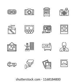 Collection of 16 camera outline icons include icons such as post, cctv, live news, polaroid, gopro, camera, photography, picture, augmented reality, projector, infrared