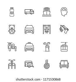 Collection of 16 car outline icons include icons such as playground, car, teddy bear, gun, speedometer, truck, golf, aerial tramway, boat, minivan taxi, minivan, sidecar
