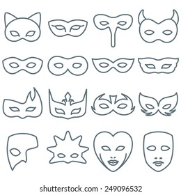 Collection of 16 Carnival and Costume Mask Line Icons