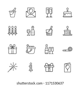 Collection of 16 celebrate outline icons include icons such as champagne, ice bucket, wine, gift, birthday cake piece, birthday cake, birthday card, candle, candles