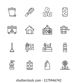 Collection of 16 clean outline icons include icons such as ecologist, bleach, plunger, sponge, recycling bin, water, recycle, numbers, bath, bucket, home, pet brush, shampoo