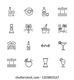 Collection of 16 cocktail outline icons include icons such as cocktail, champagne, juice, milkshake, vodka, wine bottle, jigger, beach, bars