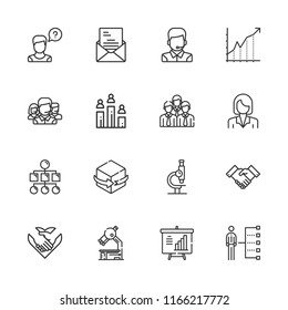 Collection of 16 corporate outline icons include icons such as handshake, operator, team, letter, employee, human resources, presentation, diagram, d, microscope, sitemap