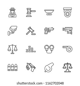 Collection of 16 crime outline icons include icons such as cctv, gun, balance, auction, detective, bullets, handcuffs, whistle, scale