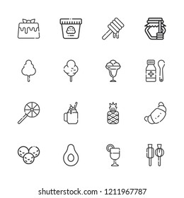 Collection of 16 dessert outline icons include icons such as croissant, ice cream, syrup, pineapple, juice, banana, smoothie, lollipop, cotton candy, honey