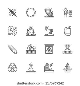 Collection of 16 disaster outline icons include icons such as extinguisher, asteroid, asteroids, collision, radiation, flood, eruption, fire extinguisher, meteorite, volcano