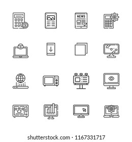 Collection of 16 display outline icons include icons such as computer, laptop, calculator, tv, microwave oven, microwave, poster, billboard, tablet