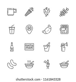 Collection of 16 drink outline icons include icons such as champagne, croissant, minibar, waitress, hotel, mixer, snack, soft drink, baby food, breast pump, mug, wine