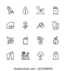 Collection of 16 eco outline icons include icons such as eco house, leaf, lemon, tree, birch, paper bag, tote bag, planet earth, bag, home, sprout, paper bin