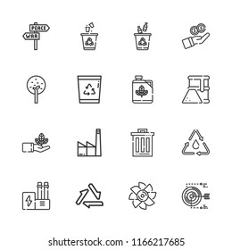 Collection of 16 environment outline icons include icons such as recycling, tree, panel, factory, sprout, biodiesel, growth, turbine, fuel, trash, industry, target