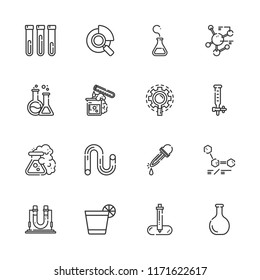 Collection of 16 experiment outline icons include icons such as tube, flask, dropper, research, test tube, glass, pipette, eyedropper, molecule