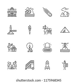 Collection of 16 fire outline icons include icons such as alarm, burner, tent, rocket, asteroid, eruption, smore, charcoal, ladder, avalanche, fire station, gas, torch, match