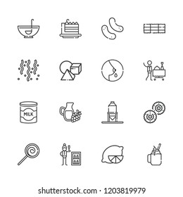 Collection of 16 food outline icons include icons such as minibar, room service, confetti, lollipop, punch bowl, snack, breastfeeding, milk, lemon, smoothie, hay bale