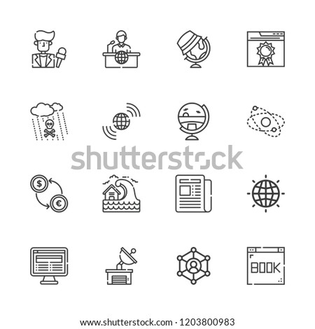 Collection Of 16 Global Outline Icons Include Such As Exchange Earth Grid Network