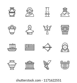 Collection of 16 greek outline icons include icons such as greece, artemis, hermes, vase, socrates, poseidon, olympus, alexander the great, trireme, lyre, column, statue