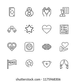 Collection of 16 heart outline icons include icons such as ace, casino, favorites, heart, hugh, peace, favorites button, condom, love birds, love, wishlist, user list