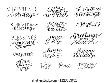 Collection with 16 Holiday hand lettering quotes Christmas blessings Peace to the earth. Joy to world Merri. Biblical background. Christian poster. Modern calligraphy Greetings