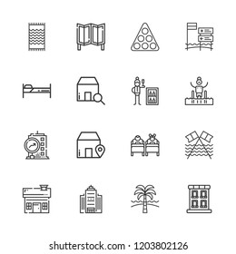 Collection of 16 hotel outline icons include icons such as building, minibar, bed, house, office building, pool, room divider, beach