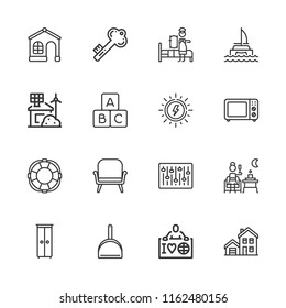 Collection of 16 house outline icons include icons such as rescue, eco house, ecologist, armchair, dustpan, house, microwave oven, terrace, maid, blocks, cabinet, mixer