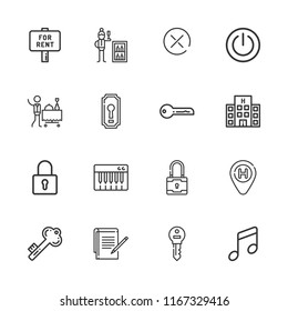 Collection of 16 key outline icons include icons such as minibar, room service, hotel, notes, music, padlock, power button, keyboard, for rent, key, keyhole