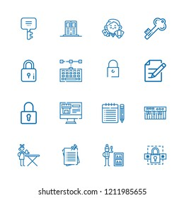 Collection of 16 key outline icons include icons such as dealer, minibar, ironing service, edit, padlock, keyword, key, keyboard, password, lock, notes, locker, note
