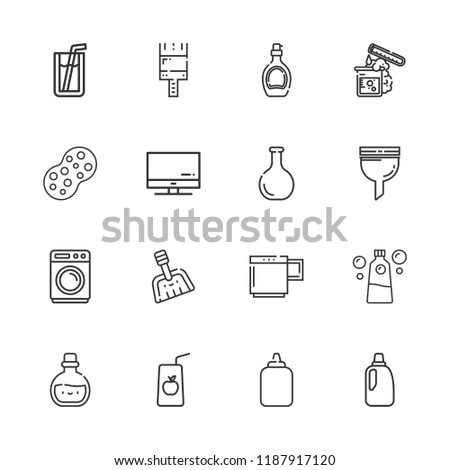 Collection 16 Liquid Outline Icons Include Stock Vector