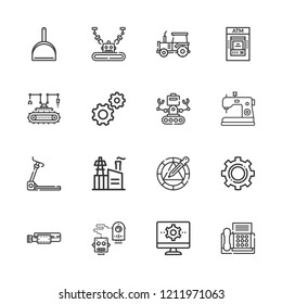 Collection of 16 machine outline icons include icons such as industry, dustpan, settings, robot, tractor, wheel, fax, atm, industrial robot, belt, treadmill
