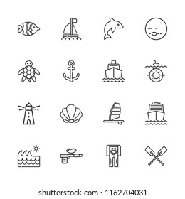 Collection of 16 marine outline icons include icons such as lighthouse, diving suit, harpoon, windsurf, boat, submarine, dolphin, paddles, turtle, fish, wave, seashell, anchor