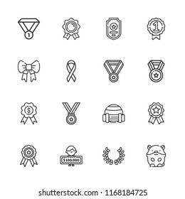 Collection of 16 medal outline icons include icons such as winner, medal, ribbon, badge, hamster, sport, badges
