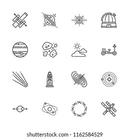 Collection of 16 moon outline icons include icons such as cloudy, asteroid, asteroids, astronaut, big bang, black hole, comet, hubble space telescope, jupiter, moon rover
