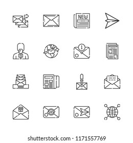 Collection of 16 news outline icons include icons such as networking, paper plane, newspaper, email