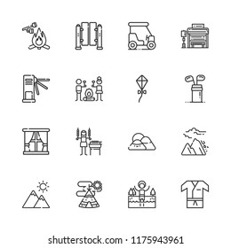 Collection of 16 outdoors outline icons include icons such as kite, golf, golf cart, karate, lake, turnstiles, smore, mountain, avalanche, shashlik, window, marshmallow